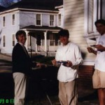 Roger Lin '99 & Jon Hagelstein '99, eating BBQ, May 8, 1997, JPN 102~402 Party