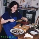 "Zoe Lawson '98, making ""sushi,"" December 5, 1997, JPN101~401 Party"