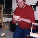 "Greg Stoddard '98, making ""macha"" tea for other students March 15, 1998, JPN202~402 Party"