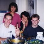 """Aikifo-Members"" From the left, Ben Jackson '02, Yuko Eguchi 'o3, John '03"