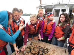 Students in Visiting Assistant Professor Josh Lord's Bio 211, Invertebrate Zoology examine the spoils of a bottom dredge haul in the Gulf of Maine.