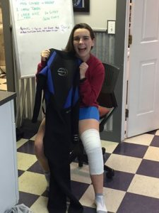 Adelae Durand with wet suit