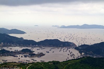 Hundreds of fishing vessels in the East China Sea.
