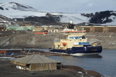 Dock at McMurdo Station in Antarctia. Photo from marine-geo.org.