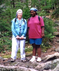 Sharon (L) and a Ben Mays Scholar on the trail up Borestone Mountain near Monson, Maine, in July1997
