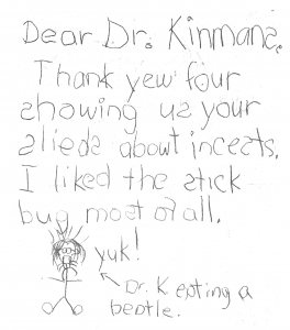 From a fan of Sharon Kinsman's class presentation on insects.