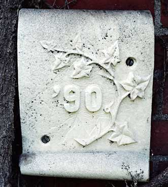 The 1890 ivy stone is on Hathorn Hall facing Dana Chemistry Hall.