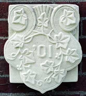 The 1901 ivy stone is on Hathorn Hall facing Dana Chemistry Hall.