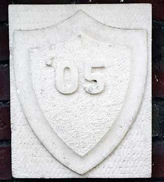The 1905 ivy stone is on Hathorn Hall closest to Parker Hall.