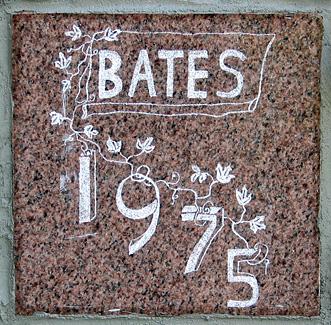 The 1975 ivy stone is on Dana Chemistry Hall facing Hathorn Hall.