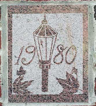 The 1980 ivy stone is on Dana Chemistry Hall facing Hathorn Hall.