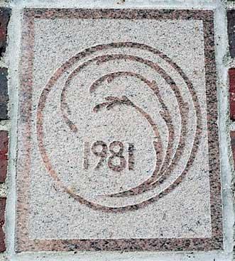 The 1981 ivy stone is on Dana Chemistry Hall facing Hathorn Hall.