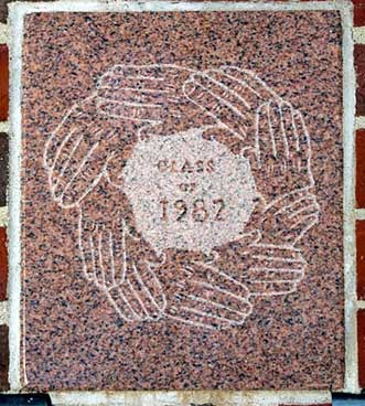 The 1982 ivy stone is on Chase Hall facing Carnegie Science Hall.