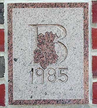 The 1985 ivy stone is on Chase Hall facing Carnegie Science Hall.