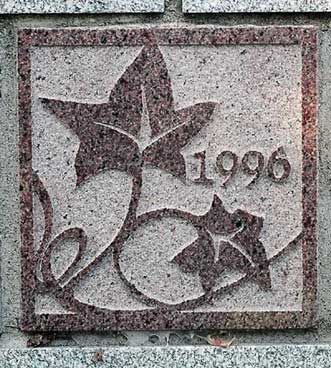 The 1996 ivy stone is on Carnegie Science Hall facing campus Avenue.