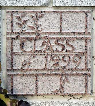 The 1999 ivy stone is on Carnegie Science Hall facing Campus Avenue.