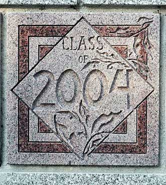 The 2004 ivy stone is on Carnegie Science Hall facing Campus Avenue.