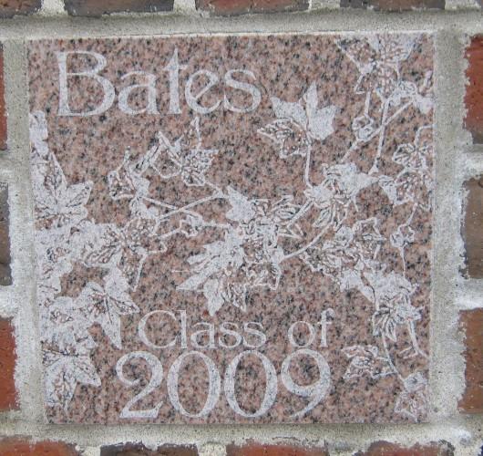 The 2009 ivy stone is on the Alumni Walk side of Pettengill