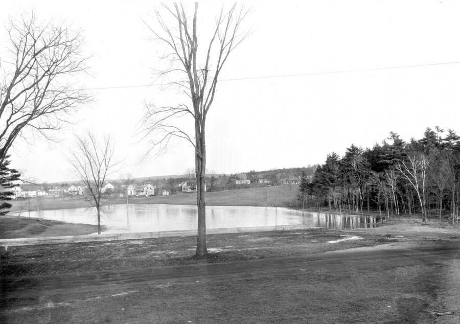Lake Andrews' first iteration, in the 1920s, as a pond created by a student dam.