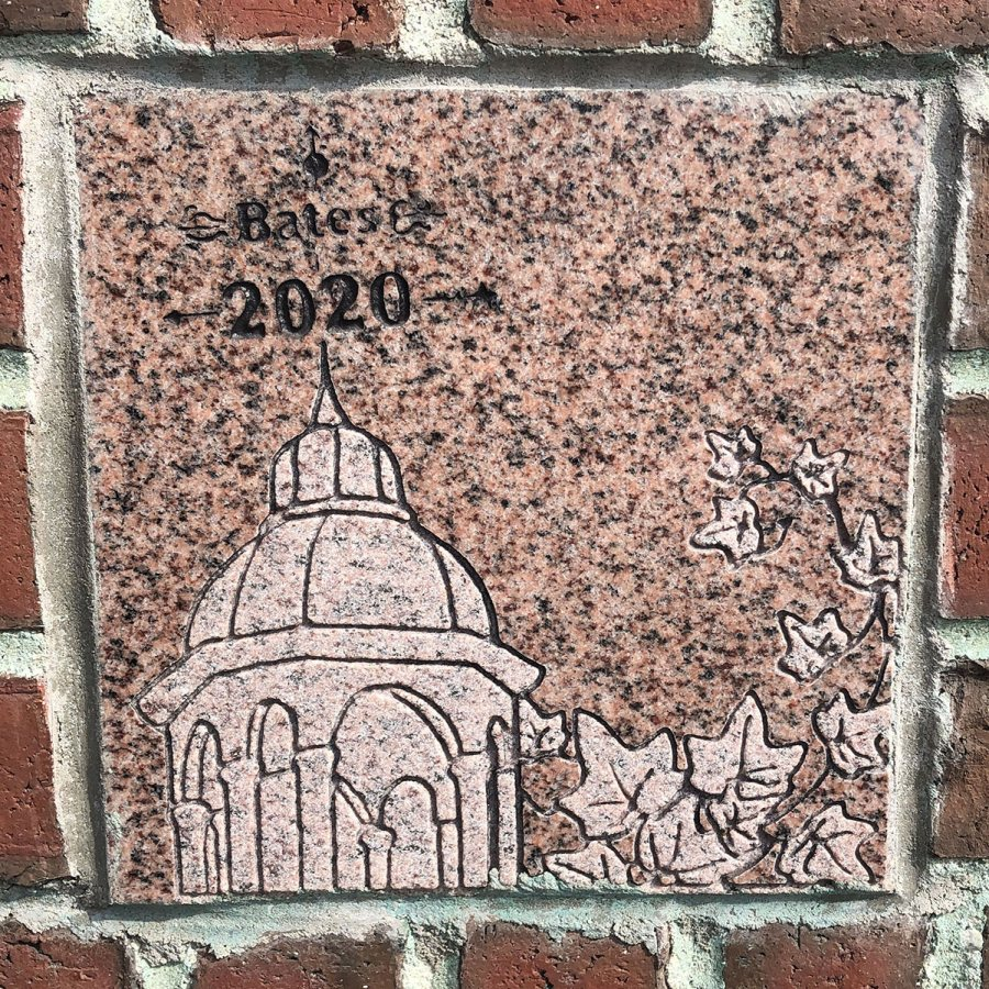 The 2020 ivy stone is on the Alumni Walk side of Pettengill