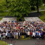 During a Friday-afternoon Commencement rehearsal, members of the Class of 2009 pose for their official senior class picture. Photograph by Marni Lyn.