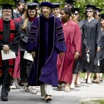 Led by Multifaith Chaplain Bill Blaine-Wallace and President Hansen, members of the Class of 2009 march onto the historic Quad for Baccalaureate.
