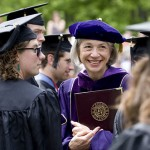 President Hansen enjoys the sight of the Class of 2009 in their academic finery.