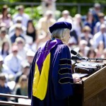 Amidst brilliant but temporary sunshine, President Hansen offers her Baccalaureate address.