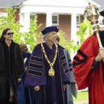 Mace bearer Sawyer Sylvester, professor of sociology, leads the processional onto the historic Quad, followed by President Elaine Tuttle Hansen, Trustee Alison Bernstein P'09, Geena Davis, Professor of Religious Studies Marcus Bruce '77 and Morehouse College President Robert Franklin.
