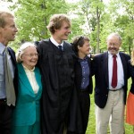 Graduate H. Lincoln Benedict '09 celebrates with, from left, father Ben Benedict, grandmother Elizabeth Benedict, mother Heidi Humphrey, grandfather Fred Humphrey and sister Margot Benedict.