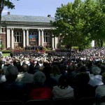 Families, friends and members of the Bates community fill the Historic Quad for Baccalaureate.