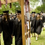 The graduates pass through a Baccalaureate archway at the conclusion of the service.