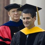 After receiving his hood, Dean Kamen waits to speak.