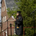Nancy Cabrera '08 of Victorville, Calif., delivers a poetry offering.