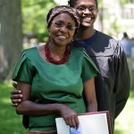 Kim Kariuki '06 poses for a photograph with his mother, Grace, who traveled from Kenya to attend Commencement.