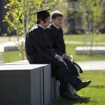 (From left) Matt Savas '08 of Worcester, Mass., and Tim McCall '08 of Lawrenceville, N.J., talk before lining up for Commencement
