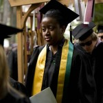Shawna-Kaye Lester '08 of St. Catherine, Jamaica, sheds a tear as she departs the ceremony. Lester delivered the first Baccalaureate poetry offering.