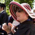 Associate Professor of Classical and Medieval Studies Lisa Maurizio lines up with faculty to greet departing graduates.