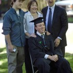 The Reilly family finds a quiet moment for an official graduation portrait: Ben Reilly '08, seated, is joined by brother Christopher Reilly, mother Jane Smith and father Jon Reilly.