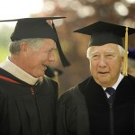 Bates Trustee James F. Callahan Jr. '65 (left) accompanies Pulitzer Prize-winning historian David McCullough, who received an honorary Doctor of Humanities degree.