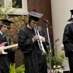 "The Greg Waters Band performs the Processional, ""Reeling in the Years"" by Steely Dan: (from left) Nate Witherbee '08 of Cape Neddick, Maine, guitar; Bill Davies of Pleasant Valley, N.Y., trumpet; and Waters of London, tenor sax."