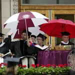 Commencement speaker Stephen Carter does a rain check.