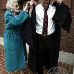 Brooks Crowley graduates with 93 years of history on his back, wearing a family gown originally worn by his great-grandmother, Bertha Cottrell Lee.