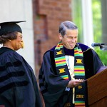 President Harward awards former U.S. Surgeon General M. Joycelyn Elders an honorary Doctor of Science degree.