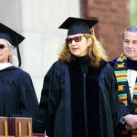 Bates Trustee Karen A. Harris '74 and President Harward look on as playwright Wendy Wasserstein (center) receives her honorary Doctor of Fine Arts degree.