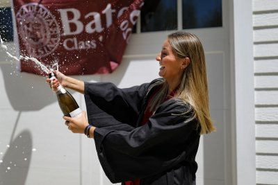 Scenes from Commencement Day, May 31, 2020. Anna Glass '20 of Wilton, Maine,