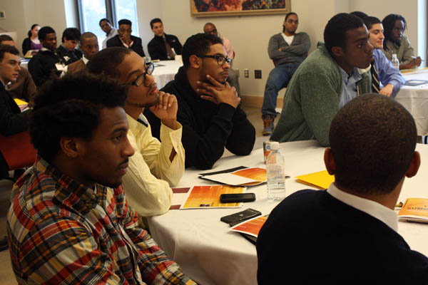 Participants in a Bates-hosted conference for black and Latino male students. Photograph by Simone Schriger '14.