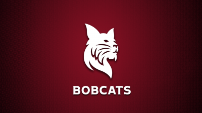 White Bates Bobcat over garnet background