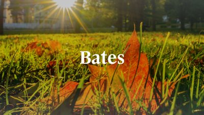 White Bates wordmark with sunshine and foliage in background