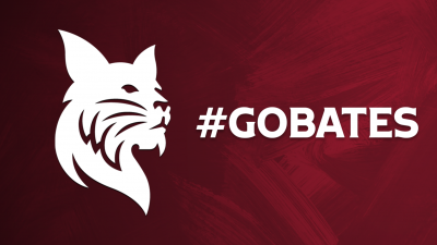 White Bates Bobcat with GoBates white text over painted garnet background